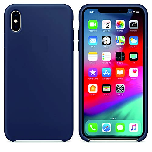 Arrivly Silicone Case Für Original Apple iPhone X Silikon Hülle Case Schutzhülle Cover Ultra Slim Dünn Silikonhülle (Mitternachtsblau) -