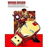 Clé USB 2.0, clé USB Clé USB à LED Iron Man 128 Go, 64 Go, 16 Go, 32 Go, 8 Go Carte mémoire (32G, Gold)