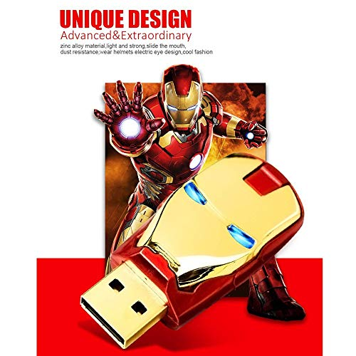 Memoria Flash USB2.0,Tarjeta de Memoria Unidad Flash USB Iron Man LED Pen Drive 8gb 16gb 32gb 64gb 128gb (8gb, Oro)