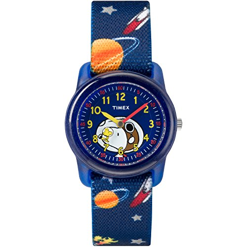 Timex Boys TW2R41800 Time Machines x Peanuts: Snoopy & Outer Space Elastic Fabric Strap Watch
