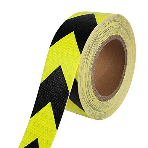 Larcele Reflektierende Tape Warning Safety Aufkleber Roll Streifen 2 Zoll x 82 Fuß FGJ-01 (Schwarz mit Gelb) (Roll-klettverschluss Zoll 2 1)