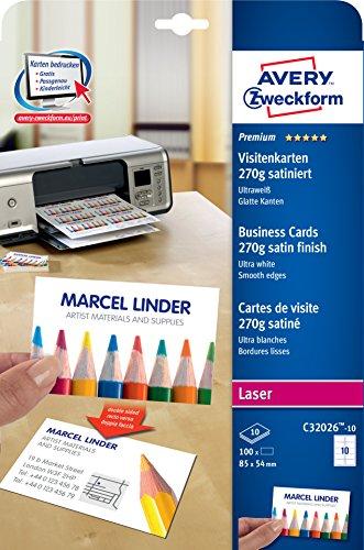 AVERY Zweckform C32026-10 Premium Visitenkarten (100 Stück, 85 x 54 mm, beidseitig bedruckbar, satiniert, 10 Blatt)