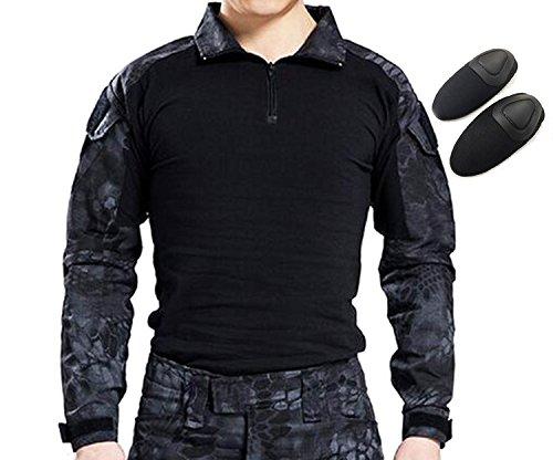 H Welt EU Taktisches Jagd Militär Langarm Shirt mit Ellenbogen Pads (TYP, XL) (Uniform Camo Bdu)