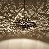 Orientalische Lampe Pendelleuchte | Prachtvolle Hängelampe handgefertigte Deckenlampe | Hängeleuchte ägyptische Silber Messinglampe Sefrou D30