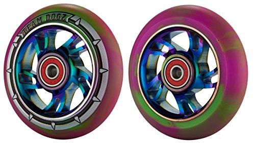 x-2-team-dogz-arc-en-ciel-100-mm-roues-neochrome-core-violet-vert-imitation-pneu