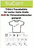 10 Blatt DIN A3 T-Shirt Folie Transferfolie Textilfolie Transferpapier klar/transparent Inkjet Bügelfolie für helle / weiße Baumwolltextilien