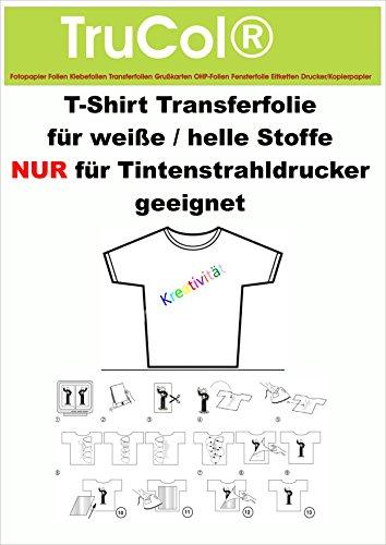 10 Blatt DIN A3 T-Shirt Folie Transferfolie Textilfolie Transferpapier klar/transparent Inkjet Bügelfolie für helle / weiße Baumwolltextilien -