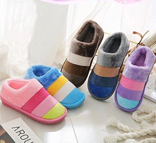 Minetom Femmes Hommes Automne Hiver Pantoufles Chaudes Confortable Coton Chaussures D'Intérieur Anti Slip Chaussons Café