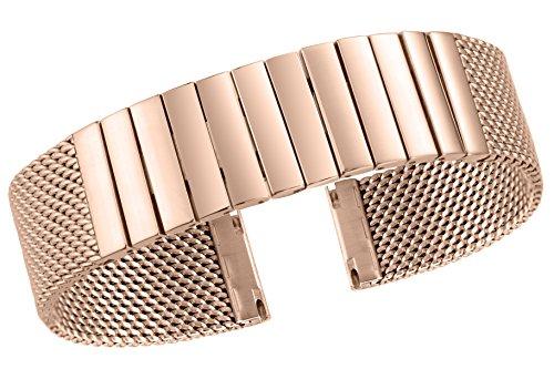 Pulsera de la correa del reloj milanese de las mujeres elegantes de 18mm corchete del lanzamiento rápido del satén del acero inoxidable rosado plateado oro