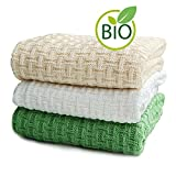SonnenStrick 3009002 Babydecke / Kuscheldecke / Strickdecke aus 100 % Bio Baumwolle kba Made in Germany, 100 x 90 cm, natur - 2