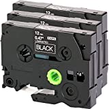 3x Schriftband für Brother TZe-335 12mm weiß auf schwarz 12mm breit x 8m Länge kompatibel zu TZE-335 z.b. für P-Touch 1000W
