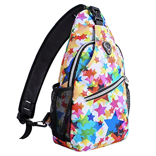 MOSISO Brusttasche Sling Rucksack Schultertasche, Polyester Crossbody Umhängetasche Sporttasche für Herren Damen Mädchen Jungen, Star