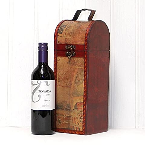 Tonada Red Wine 750ml in Quality Wooden Replica Vintage Chest - Gift ideas for - Christmas, Fathers Day, Valentines, Presents, Birthday, Men, Him, Dad, Her, Mum, Thank you, Wedding Anniversary, Engagement, 18th, 21st, 30th, 40th, 50th, 60th, 70th, 80th,