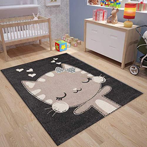 VIMODA Kinder Teppich Glückliches Kätzchen Katze Kinder, Maße:120x170 cm -