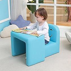 Emall Life Table et Chaise multifonctionnelles pour Enfant avec Sourire pour Fille et garçon (Bleu)