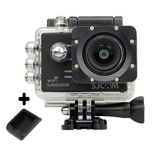 BOOMYOURS Original SJCAM SJ5000X WiFi Elite Edition Actioncam,Action Sport Kamera,Helmkamera(2.0inch LCD,12MP,4K @24FPS,Sony IMX078 Sensor,Gyro Anti-Shake)+USB Akku ladegerät Sony Housing Display