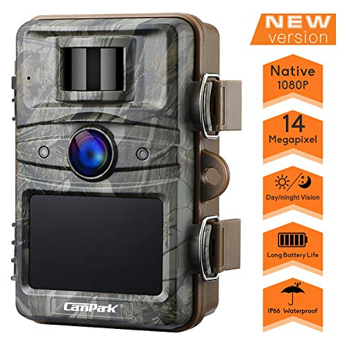 Campark Cámara de Caza 14MP 1080P HD Trail Cámara con 44pcs IR LED Invisible Visión Nocturna Distancia de Disparo hasta 20M IP66 Impermeable Cámara de Animal Salvaje con 2.4