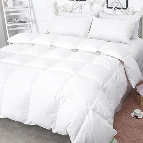 Luxus-Steppdecke aus Gänsefedern und Gänsedaunen, 13,5Tog, Hülle aus 100{261823ae9e205b20339b80bb4be5552ad2045b4ce83e1d8007387776da936258} Baumwolle, milben- und daunendichter Stoff, weiß, von Duo-V Home, weiß, 220x230cm
