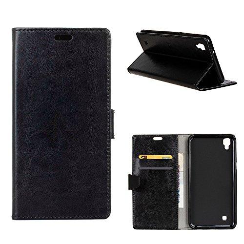 MOONCASE LG X Style Hülle, Ledertasche Brieftasche mit Standfunktion und Karte Halter Tasche Magnetisch Leder Schutzhülle für LG Tribute HD / X Style Schwarz