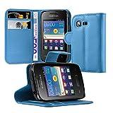 Cadorabo Hülle für Samsung Galaxy Pocket 2 - Hülle in Pastel Blau – Handyhülle mit Kartenfach und Standfunktion - Case Cover Schutzhülle Etui Tasche Book Klapp Style