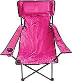 normani Bequemer Outdoor-Klappstuhl mit Getränkehalter und abnehmbarem Kissen, in verschiedenen Farben Farbe Rosa
