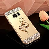 Coque Galaxy Note 5, Miroir Housse Coque Silicone TPU pour Samsung Galaxy Note 5, Surakey [Ballerine fille 360 Rotation Bague bâton support] Elegant Cool Bling Briller étincellement Coloré Diamond Rose Or Coque Effet Miroir Etui TPU Téléphone Coque Coquille de protection Flex Soft Gel en Caoutchouc Bumper Shockproof Anti Scratch Housse Rigid Back Cover pour Samsung Galaxy Note 5, Or