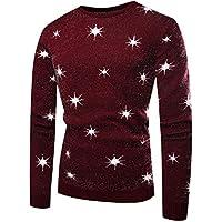 beautyjourney Pulóver de Punto Delgado de los Hombres Camiseta básica otoño Invierno Jersey de Manga Larga con Cuello Redondo Jumper Outwear