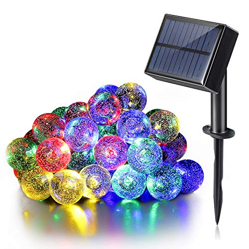 Luce Solare da Esterno, Stringa (8 Modalità) con Ingresso USB, Doppia Funzione di Ricarica, 30 led e 6,5 mt, Resistente all'acqua, luci Decorative Per Giardino, Decorazioni Natalizie (Color Multi)