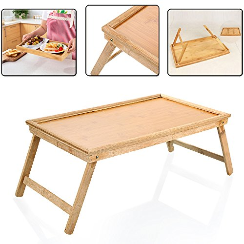Zipom 100% Portable Bamboo Laptop Stand Foldable Desk Notebook Table Laptop Bed Tray Bed Table, Flower Style design, play games on bed Table with Drawer