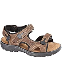 mens leather upper straps sandal, with cross strap front and padded insole