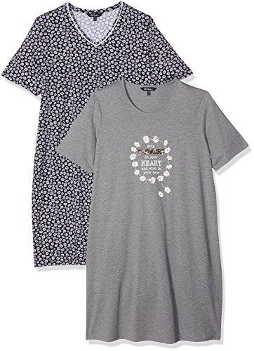 2 Pack Nachthemd (Ulla Popken Damen Nachthemd Big-Shirt 2er Pack, Margeriten Grau (Anthrazit 12) 54)