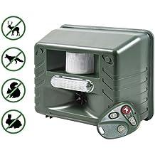 Strumento a ultrasuoni contro i parassiti con sensore di movimento e telecomando, regolabile individualmente per cani, gatti, topi, ratti, insetti, talpe e roditori, semplici ed efficaci