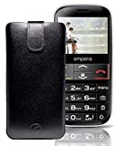 Favory ECHT Ledertasche Leder Etui / Emporia V50 Tasche (Lasche mit Rückzugfunktion) schwarz
