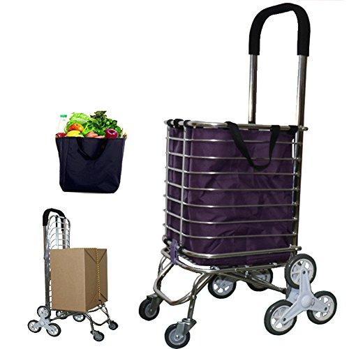QINAIDI Faltender Einkaufslaufkatze-6-Rad-Leichter Treppen-Kletternder Wagen mit Entfernbarer Wasserdichter Tasche Für Wäscherei, Lebensmittelgeschäft und Markt - Gehen Sie auf und Treppe Hinunter (Markt Wagen)