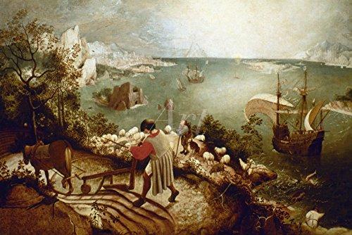 Artland Qualitätsbilder I Bild auf Leinwand Leinwandbilder Wandbilder 60 x 40 cm Fantasy Mythologie Fantasie Malerei Blau C2QY Landschaft mit Dem Sturz des Ikarus Um 1555