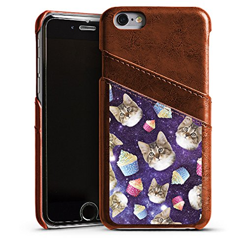 Apple iPhone 5s Housse Étui Protection Coque Chats Galaxie Motif Étui en cuir marron