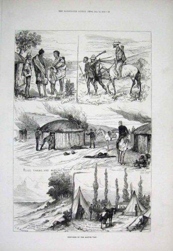 Alter Druck 1878 Kaffir Kriegs-Afrikas Galeka Fingo - Afrika Antique Print