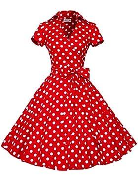 I-CURVES donna marrone e rosso a pois vintage anni '50 cocktail retro rockabily swing manica corta dress taglia...