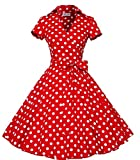 I-CURVES donna rosso polka dot vintage anni '50 cocktail retro rockabily swing manica corta dress taglia (46-48)