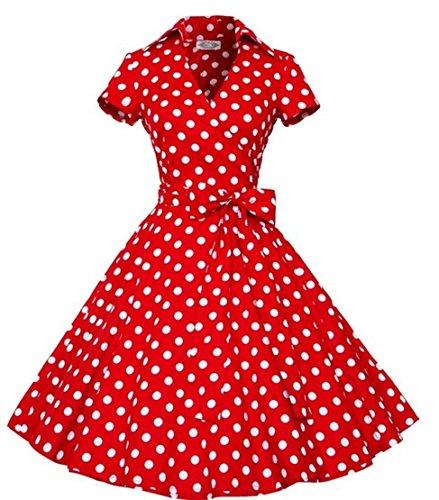 Polka 50er Dot Kleid Jahre Kostüm - I-CURVES Damen rot Polka Dot Vintage 50er Jahre Cocktail Retro Rockabilly Swing Kurzarm Kleid Größe (40-42)