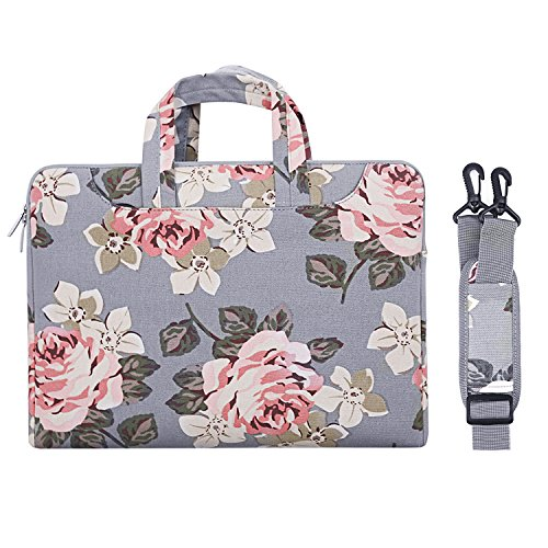 MOSISO Umhängetasche/Laptoptasche Kompatibel 13-13,3 Zoll MacBook Pro Retina, MacBook Air, Surface Book, Surface Laptop, Segeltuch Gewebe Rosen Muster Beweglicher Sleeve Hülle Tasche, Grau