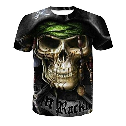 XNRHH Hombres Y Mujeres Amantes Hip-Hop Suelto Gran Tamaño Estilo Callejero Blusa Estampado de Calavera Manga Corta Camiseta,PhotoColor-2XL