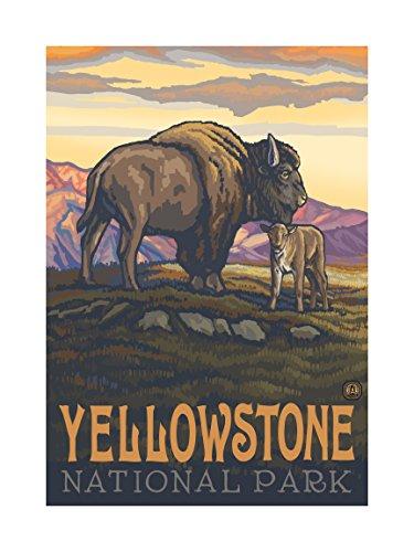 Northwest Art Mall pal-0157l BAC Yellowstone National Park Buffalo und Wade Artwork von Paul A. lanquist, 18von 24