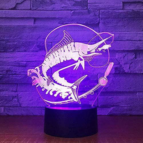 Fernfischen 3D Beleuchtet Tischkaffeebar Der Acrylstereotäuschungs-Led Beleuchtet Die Fische, Die Kreative Geschenke Des Köders Essen (Augen Blinkenden Halloween-lichter)