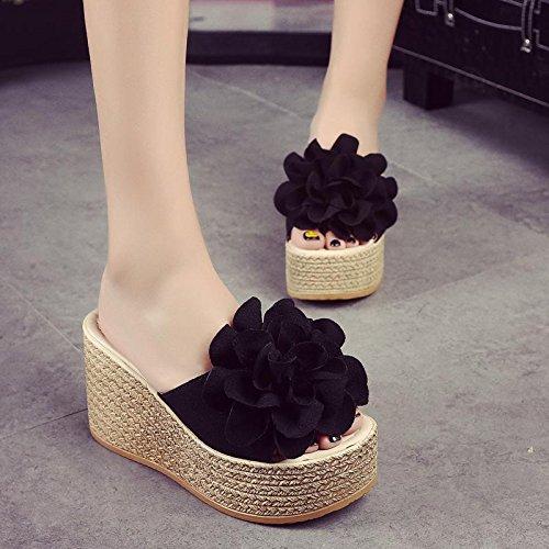 LvYuan Pantofole estive delle donne / Comfort Casual Fashion / tacco tallone / fondo spessa / piattaforma impermeabile / tacco alto / fiore sexy / sandali / beach shoes Black