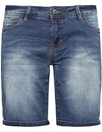 SUBLEVEL Damen Stretch Jeans Bermuda-Shorts | Bequeme kurze Hose im Used-Look