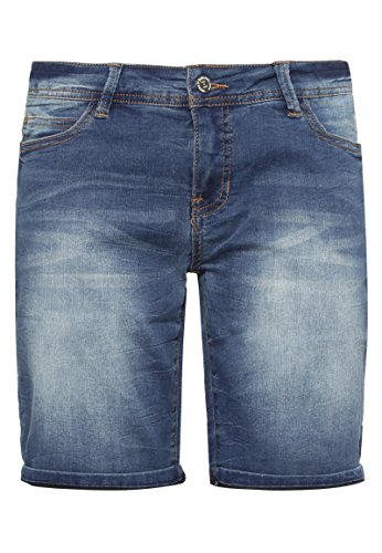 SUBLEVEL Damen Stretch Jeans Bermuda-Shorts | Bequeme kurze Hose im Used-Look middle-blue L