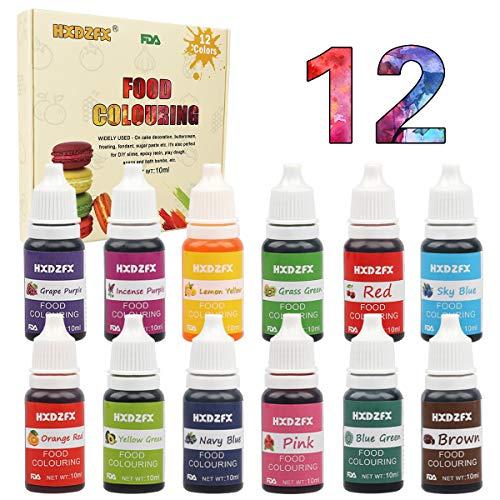 Coloranti alimentari a 12 colori - colorante alimentare liquido concentrati per cuocere, decorare, glassare e cucinare - coloranti alimentari vibranti per fondente, slime e mestieri - flaconi di 10 ml