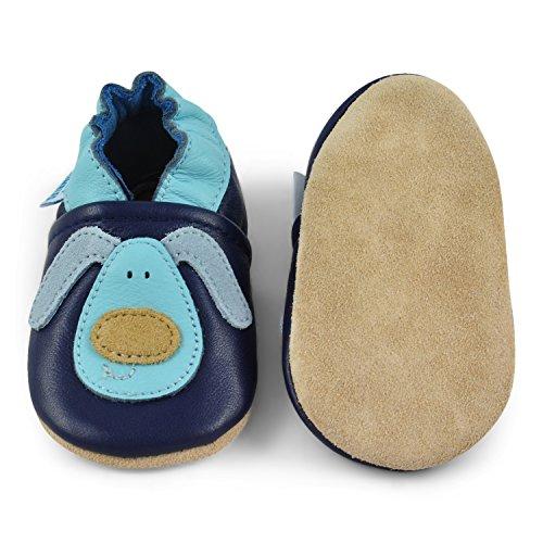 Juicy Bumbles - Weicher Leder Lauflernschuhe Krabbelschuhe Babyhausschuhe mit Wildledersohlen. Junge Mädchen Kleinkind 0-6 Monate 6-12 Monate 12-18 Monate 18-24 Monate Kleiner Hund