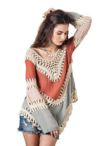 Nicetage Women Fashion Bohemia Lace Crochet Hollow Knitwear Splice Swimwear Beach Dress Bikini Cove Up (Orange)